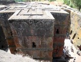 Lalibela's most famous rock-hewn church Bet Giyorgis (St George's church). Ethiopia.