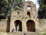 Outer wall of Debre Berhan Selassie Church in Gondar. Ethiopia.