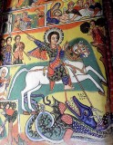St George killing the dragon. Painting in Azwa Mariam monastery, Zeghie Peninsula, Tana Lake. Ethiopia.