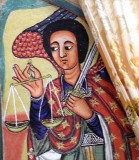Painting of the archangel Michael in Azwa Mariam monastery, Zeghie Peninsula, Tana Lake. Ethiopia.