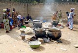 Korhogo. women cooking for the community during Poro celebration