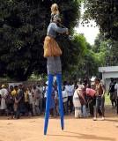 « Festival des 18 Montagnes de Man », Côte d'Ivoire. Dancer on stilts.