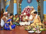 Ceremony for the bride's and groom's parents before the wedding; Karnataka, India