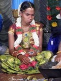 Newly wed. She knows the past, what will the future be like? Wedding ceremony in Karnataka, India