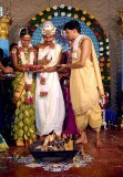 In front of the holy fire; Wedding ceremony in Karnataka, India