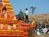 Devotees have offered green sarees for goddess Yellamma, Yellamma temple, Saundatti, Karnataka, India.