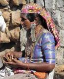 Banjara woman outside Yellamma temple, Saundatti, Karnataka, India