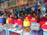 Shop with sarees, powder etc. outside Yellamma temple, Saundatti, Karnataka, India