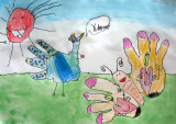 my hand - peacock and butterfly, Fiona, age:5.5