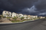 Storm over residential neighborhood