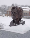 Bronze portrait of Hillary Rodham Clinton placed on the trail summer of 2013.