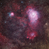 Lagoon and Trifid Nebulas widefield 4.5 hours