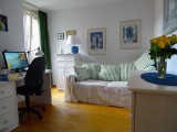 Happiness is working on my book, at home, in my own office, listening to Mozart.