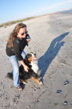 With Mommy at Doggie Beach