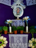 Madre Dolorosa altar with papel picados