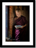 A novice monk reading a scripture