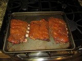 Just before I was ready to eat I added some BBQ sauce and set the oven to broil. I could have put the ribs on my gas grill.