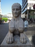 Clichedly defaced Sphinx sculpture