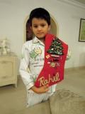 The Christmas stocking Rahil's grandmother made for him