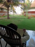 Relaxing in Kerala with a book