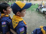 Receiving Cub Scout Wolf badge!