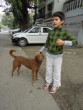Rahil and Brownie, the best dog in Nizamuddin East
