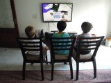 Playing Minecraft with pals Noah and Jaden