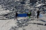 Surfers preparing for the bore tide