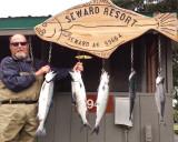 Bob shows off his salmon