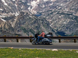 Motorcyclist on Beartooth Highway Scenery