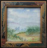Watercolour scene painted on fine linen