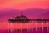 Santa Monica pier with wildfire skies at sundown