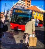 Oslo - bus and pedestrians