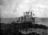 Kwaj 1945 diving board into lagoon