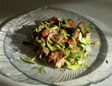 Spiralized Zucchini with Teriyaki-Pineapple Meatballs, Onions, Mushrooms & Garlic