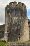 The leaning tower.- Caerphilly Castle