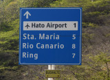 Road sign for Curaçao's Hato Airport