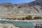 Looking across the Pamir River from Tajikistan into the Wakhan Corridor of Afghanistan