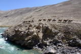 The Pamir River forms the border between Tajikistan and Afghanistan here