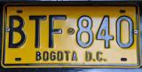Bogota License Plate