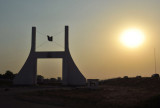 Gateway of Abuja with the setting sun