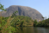 Aso Rock with the lake at the Abuja Zoo