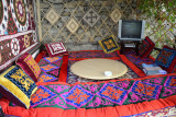 Relaxing space at the Lal Inn, Khorog