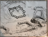 Plan of the ruins of the Kaakhka (Qha-qaha) Fortress from the 3rd to 2nd C. BC, Wakhan Valley