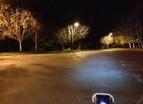 Headlight's illumination in a parking lot