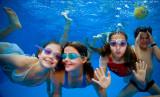 Four children swimming underwater