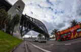 Sydney Harbour Bridge with tourist bus