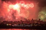 Sydney Harbour Bridge with fireworks
