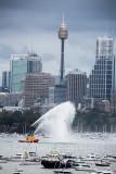 Fireboat on Sydney Harbour prior to fireworks
