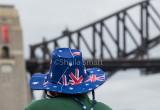 Aussie flag hat with Sydney Harbour Bridge backdrop on Australia Day